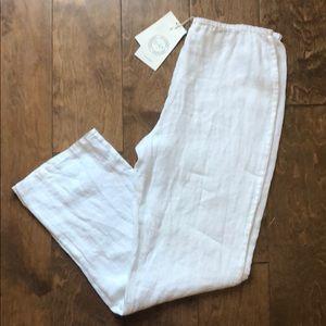 Zyga White Linen Pants